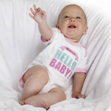 Personalised 'Hello Baby!' Baby Grow With Name